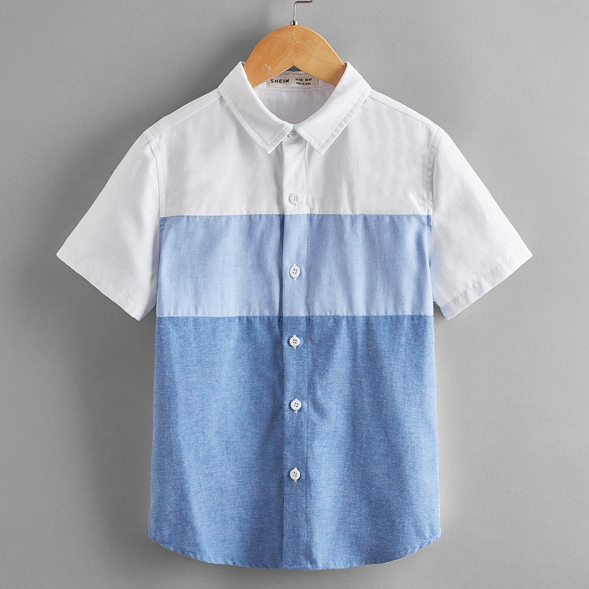 для мальчиков Рубашка Контрастный пуговица