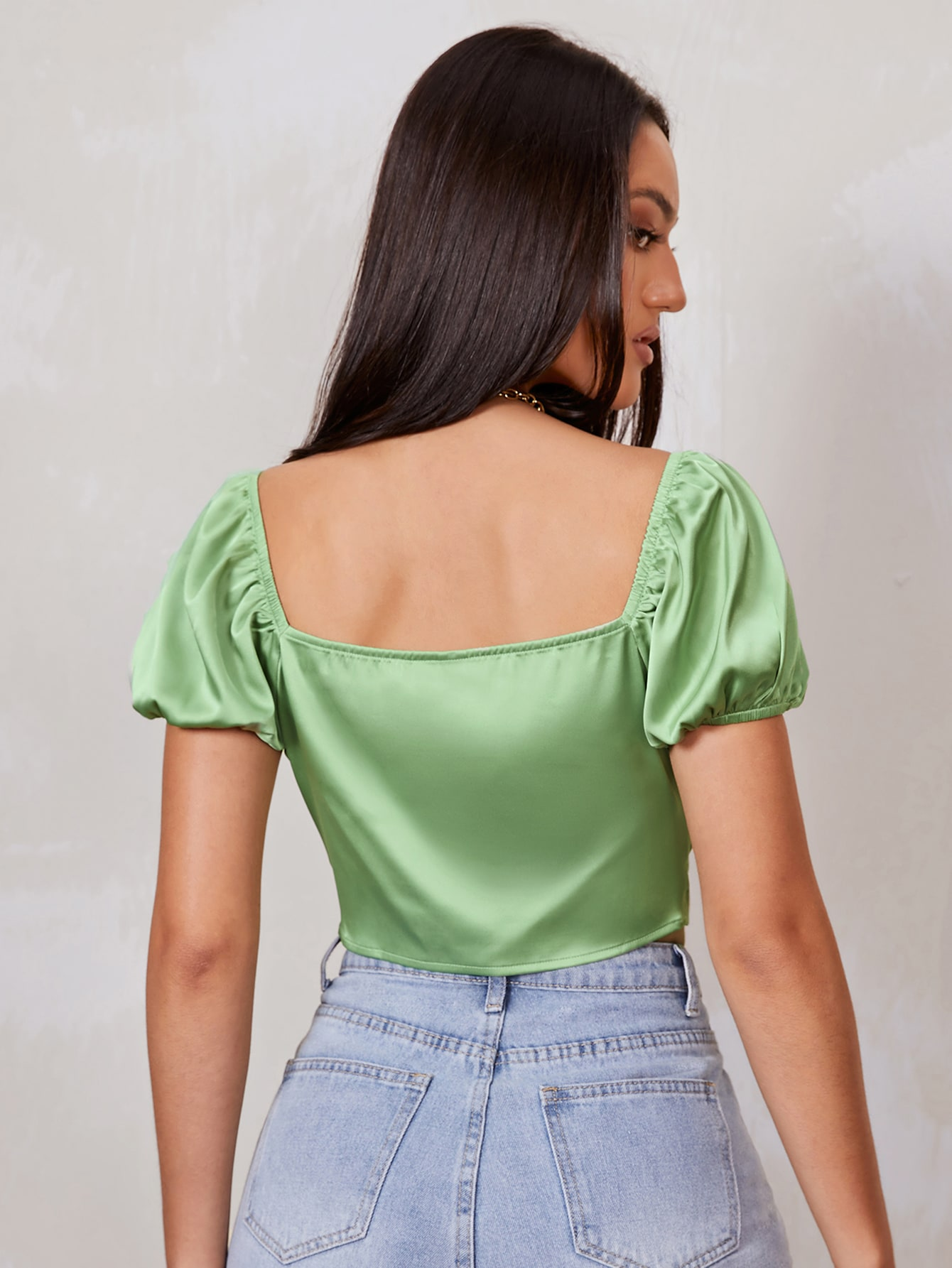 Puff Sleeve Ruched Tie Front Satin Crop Top