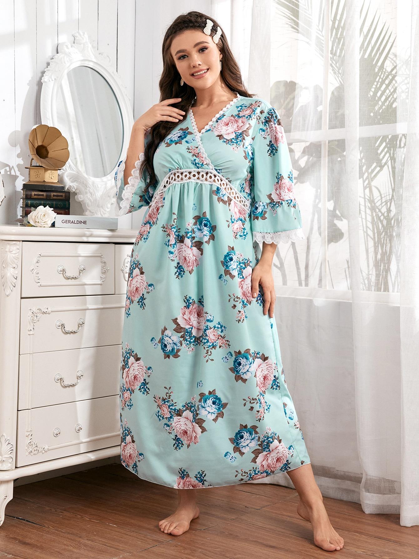 Plus Floral Print Contrast Guipure Lace Flounce Sleeve Night Dress