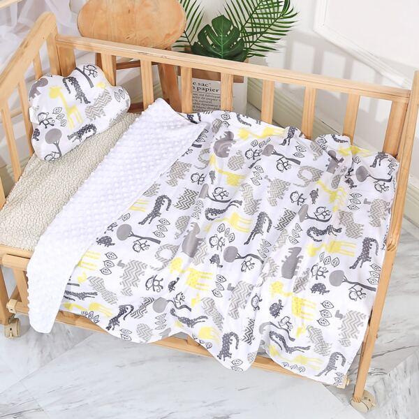 Baby Cartoon Graphic Blanket, Grey