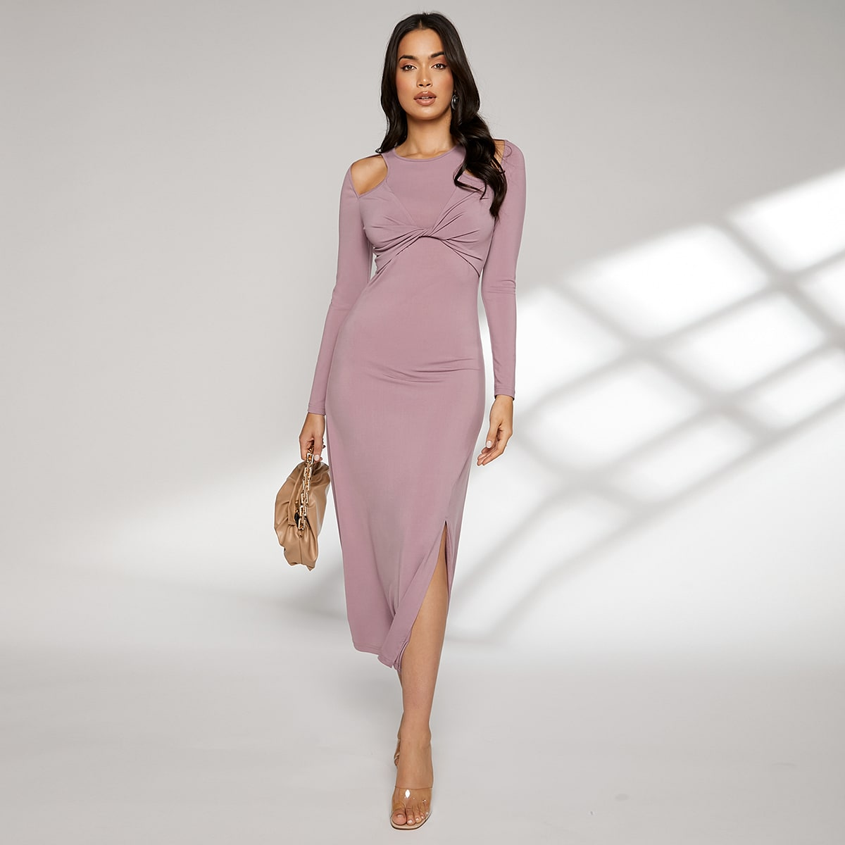 Платье с драпировкой с разрезом с разрезом на плечах SheIn swdress07210525107
