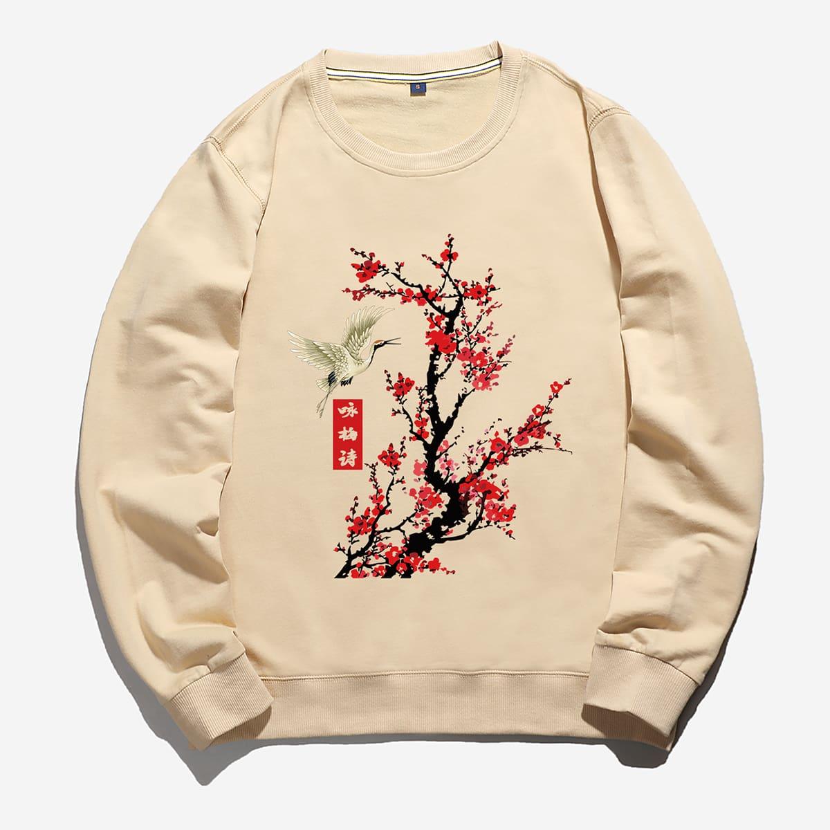 Men Crane & Floral Print Sweatshirt
