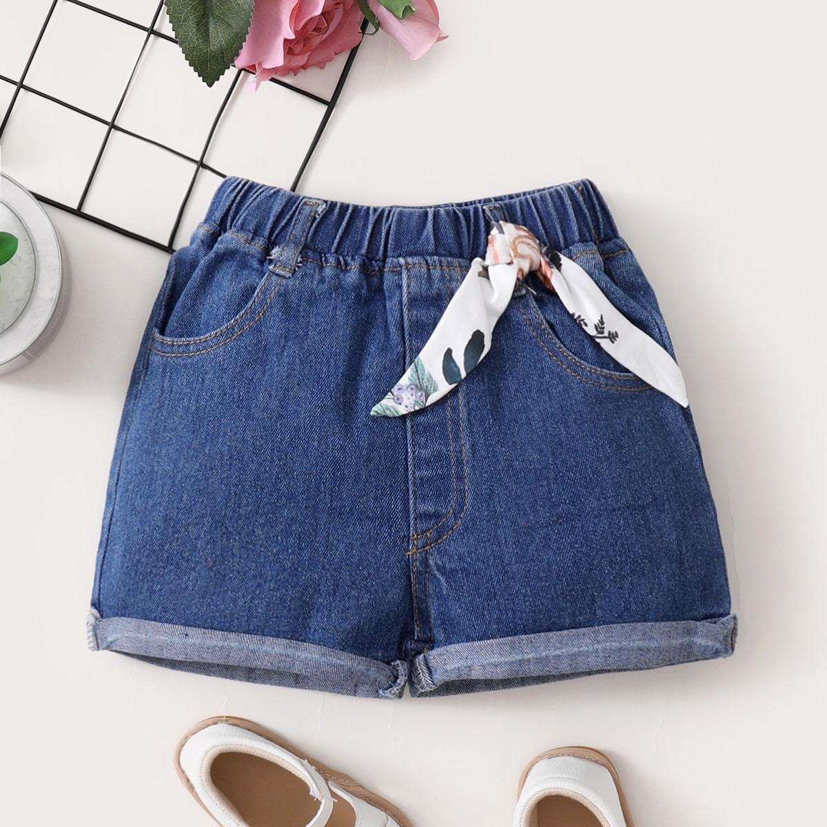 Джинсовые шорты с цветочной лентой для девочек от SHEIN