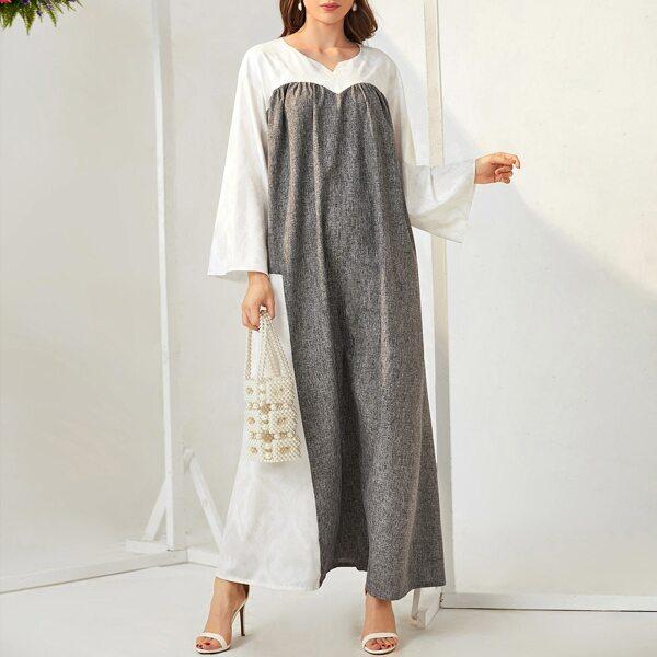 Two Tone Notched Kaftan Dress, Grey