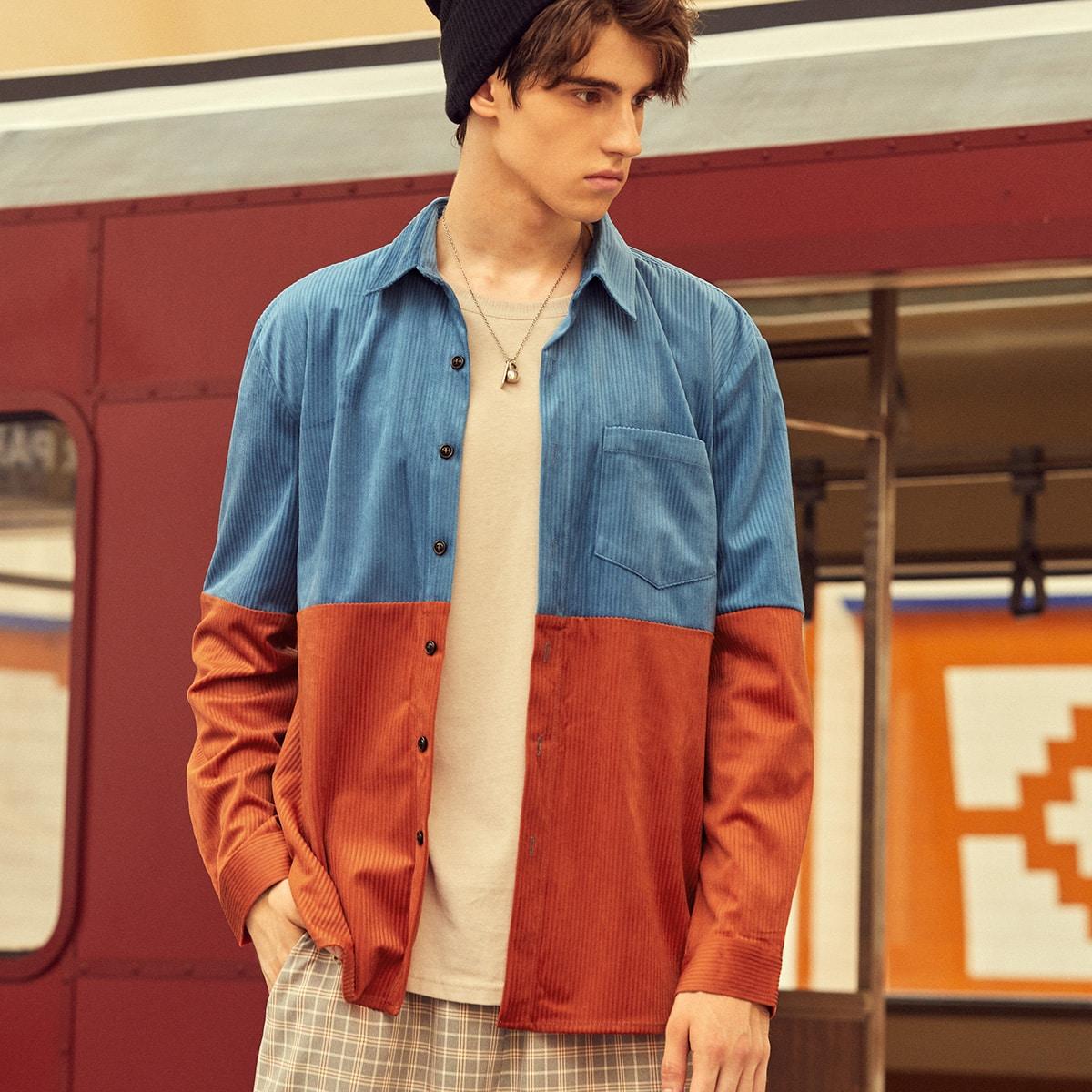 Мужская двухцветная рубашка SheIn sM210617688878668