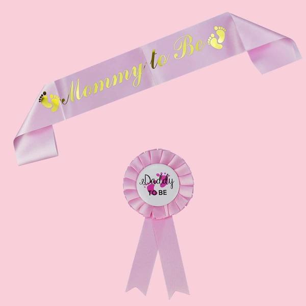 2pcs Baby Shower Party Sash & Medal Set, Pink