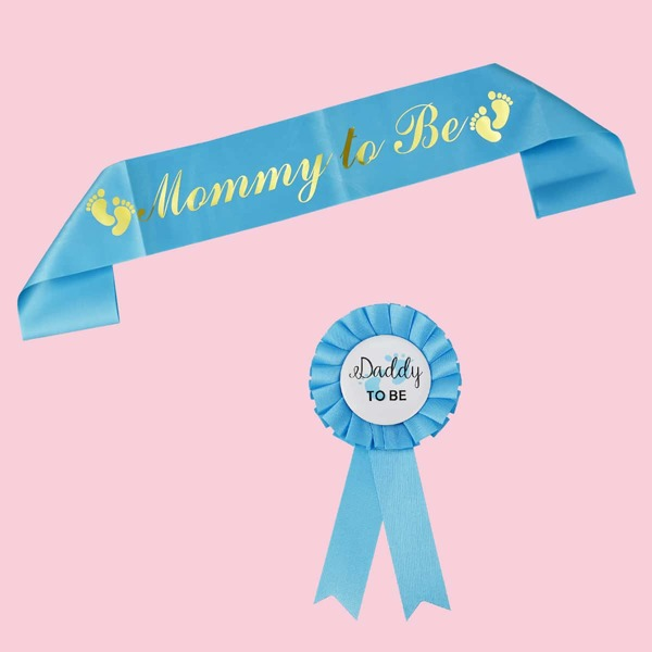 2pcs Baby Shower Party Sash & Medal Set, Blue