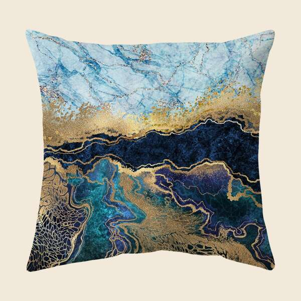 Marble Print Cushion Cover Without Filler, Multicolor