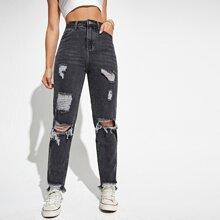 Ripped Raw Hem Mom Jeans