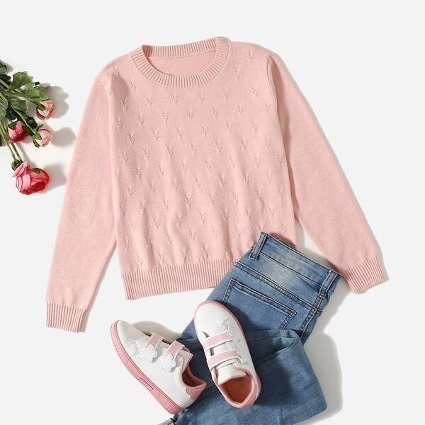 Girls Solid Sweater, Dusty pink