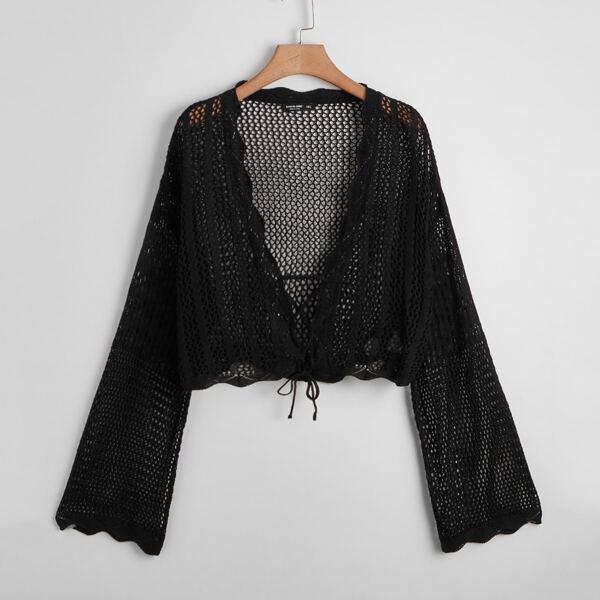 Plus Fishnet Lace Up Cardigan, Black