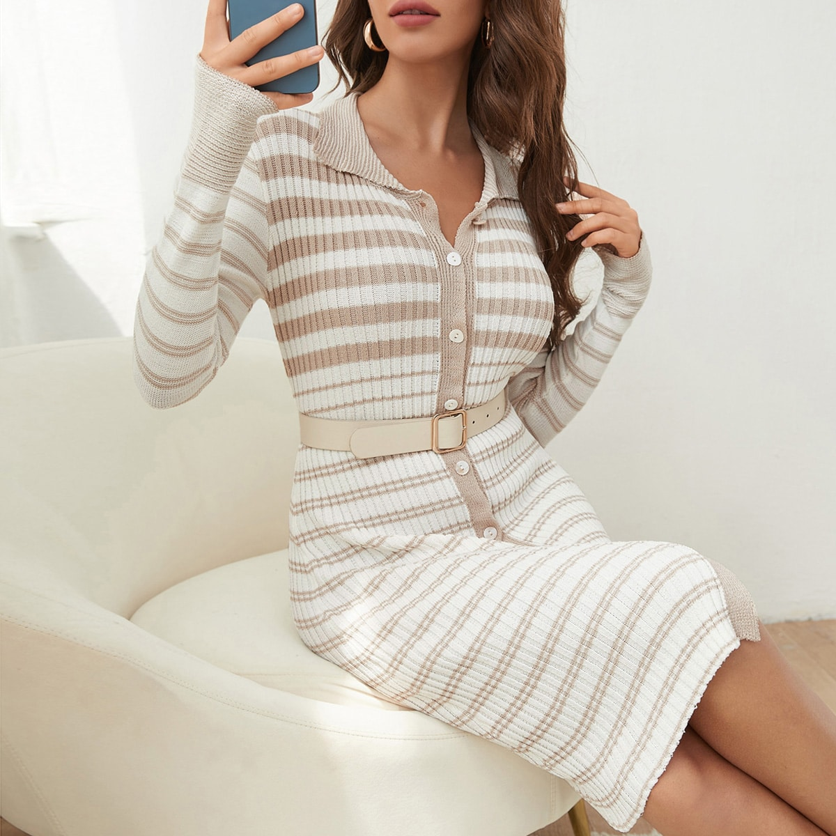 Striped Bodycon Sweater Dress Without Belt, SHEIN  - buy with discount