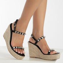 Studded Decor Wedge Sandals