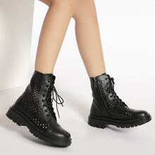 Hollow Out Lace Up Front Boots