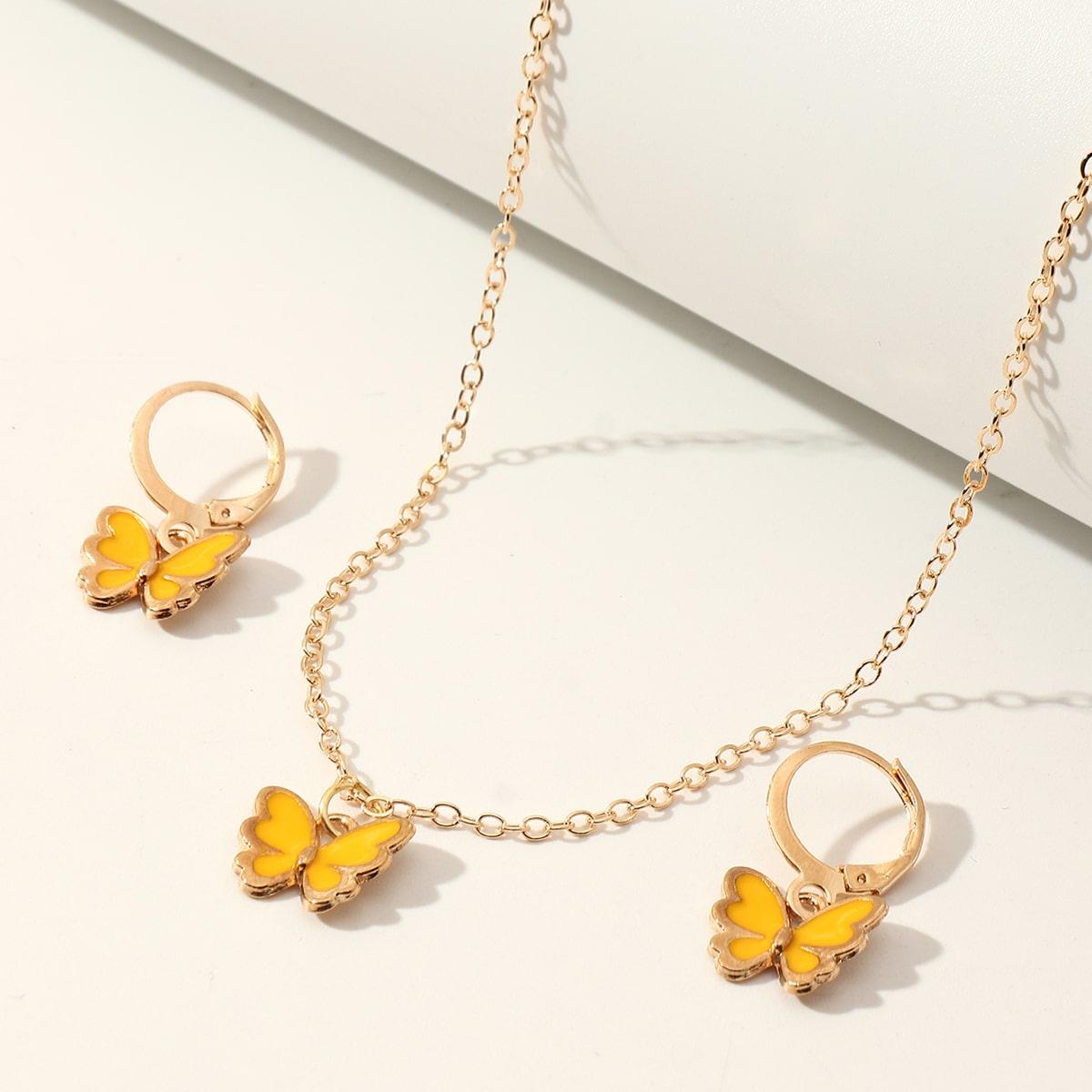 Fille 3 pièces Set de bijoux avec pendentif de papillon