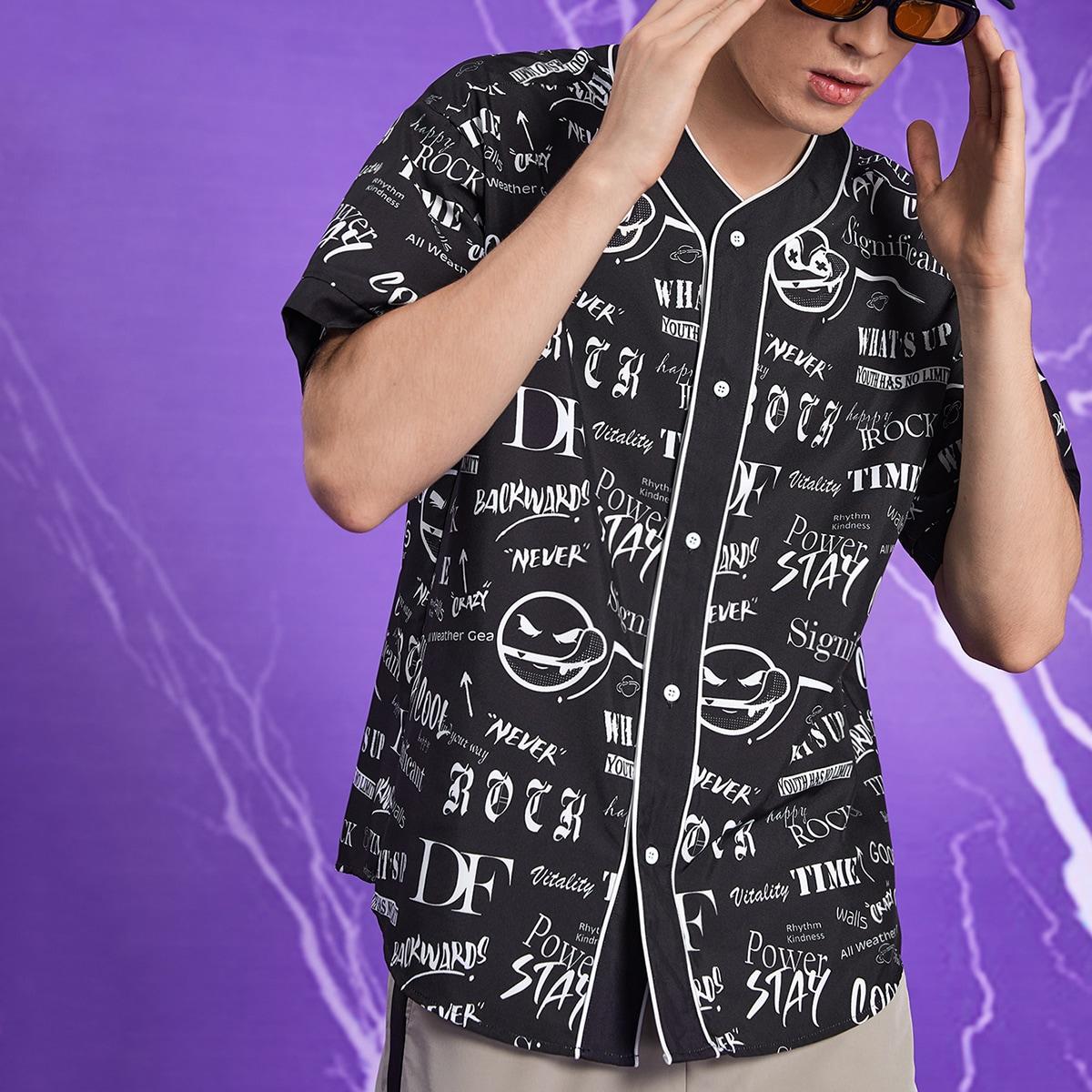 Мужская рубашка с пуговицами и мультипликационным рисунком