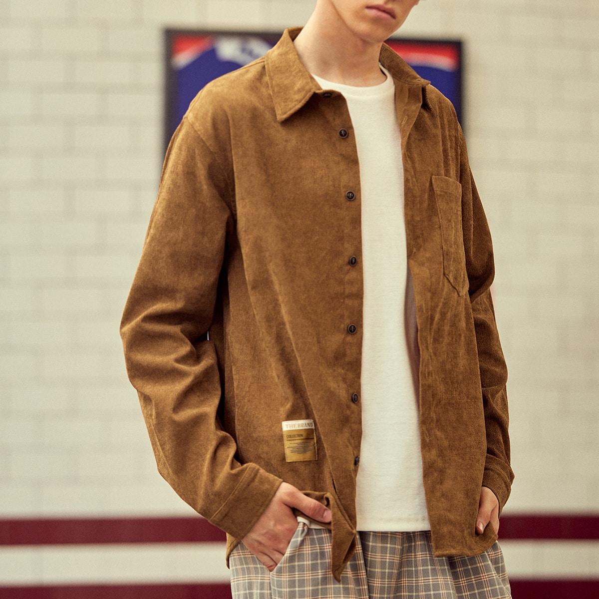 Мужской Рубашка вельветовый с заплатой с карманом SheIn smshirt25210607813