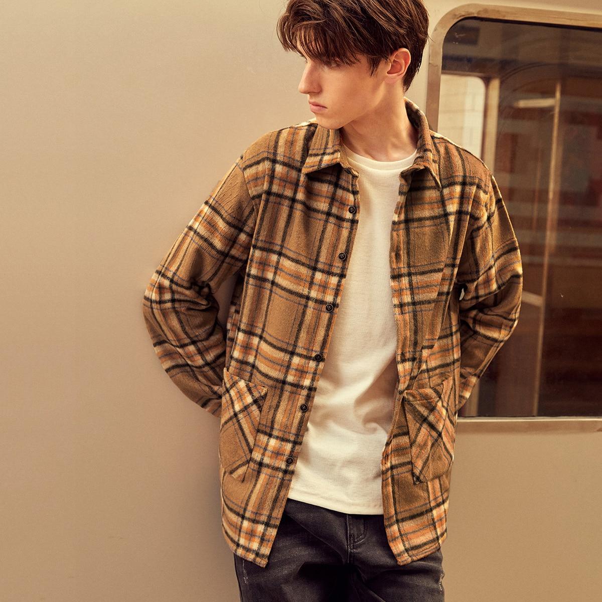 Men Tartan Print Dual Pockets Overcoat, SHEIN  - buy with discount