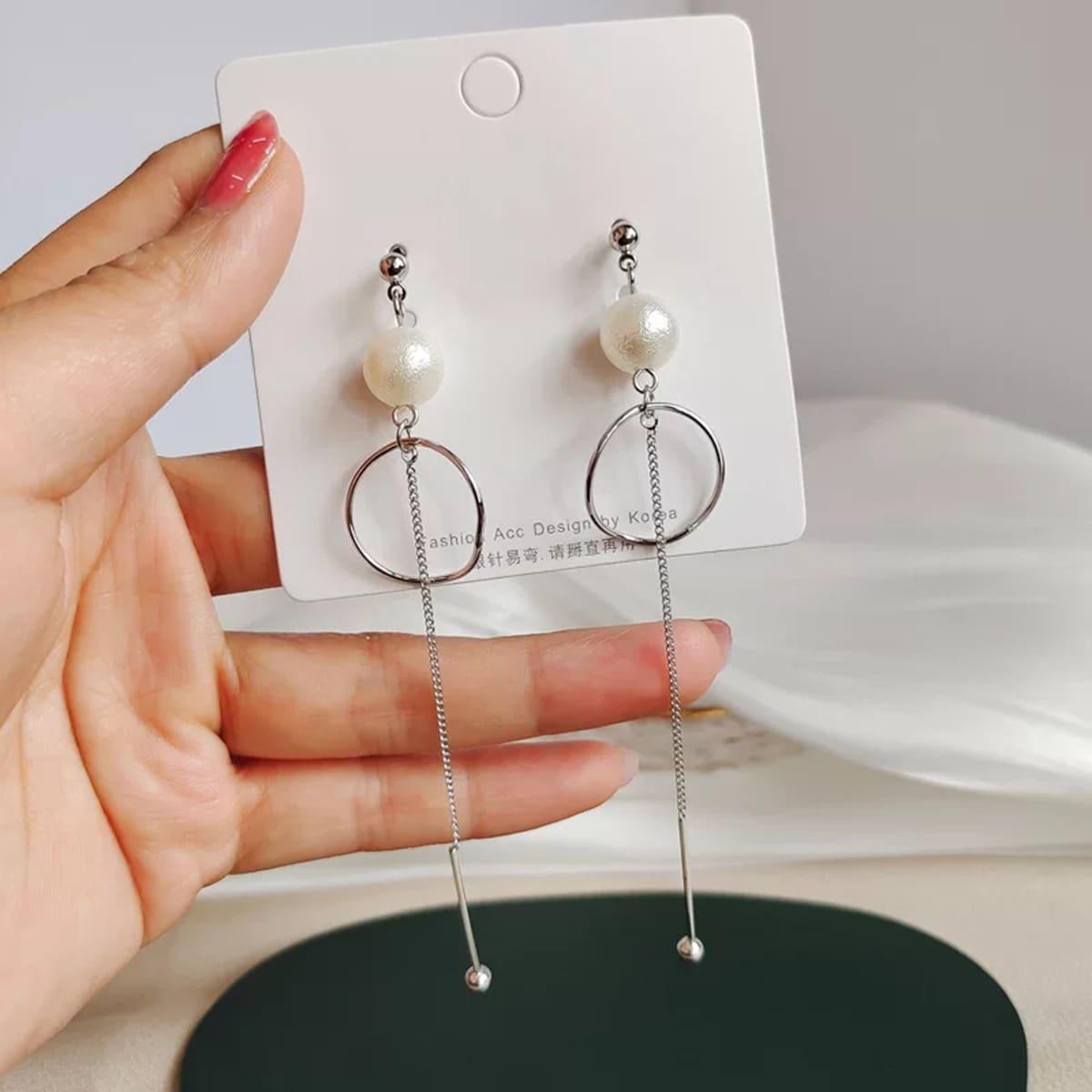 Pendientes de perla artificial