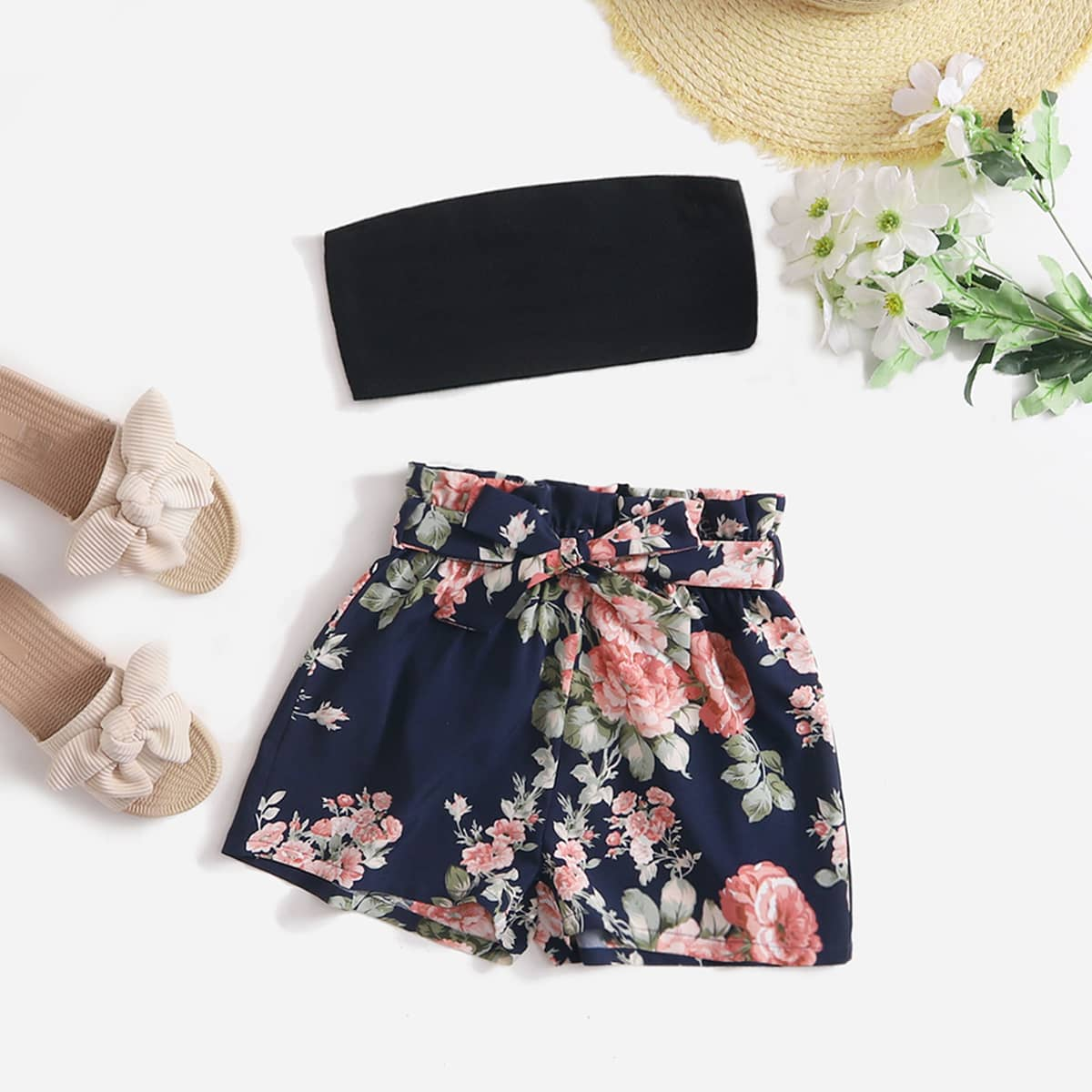 Girls Solid Crop Tube Top & Floral Print Belted Shorts