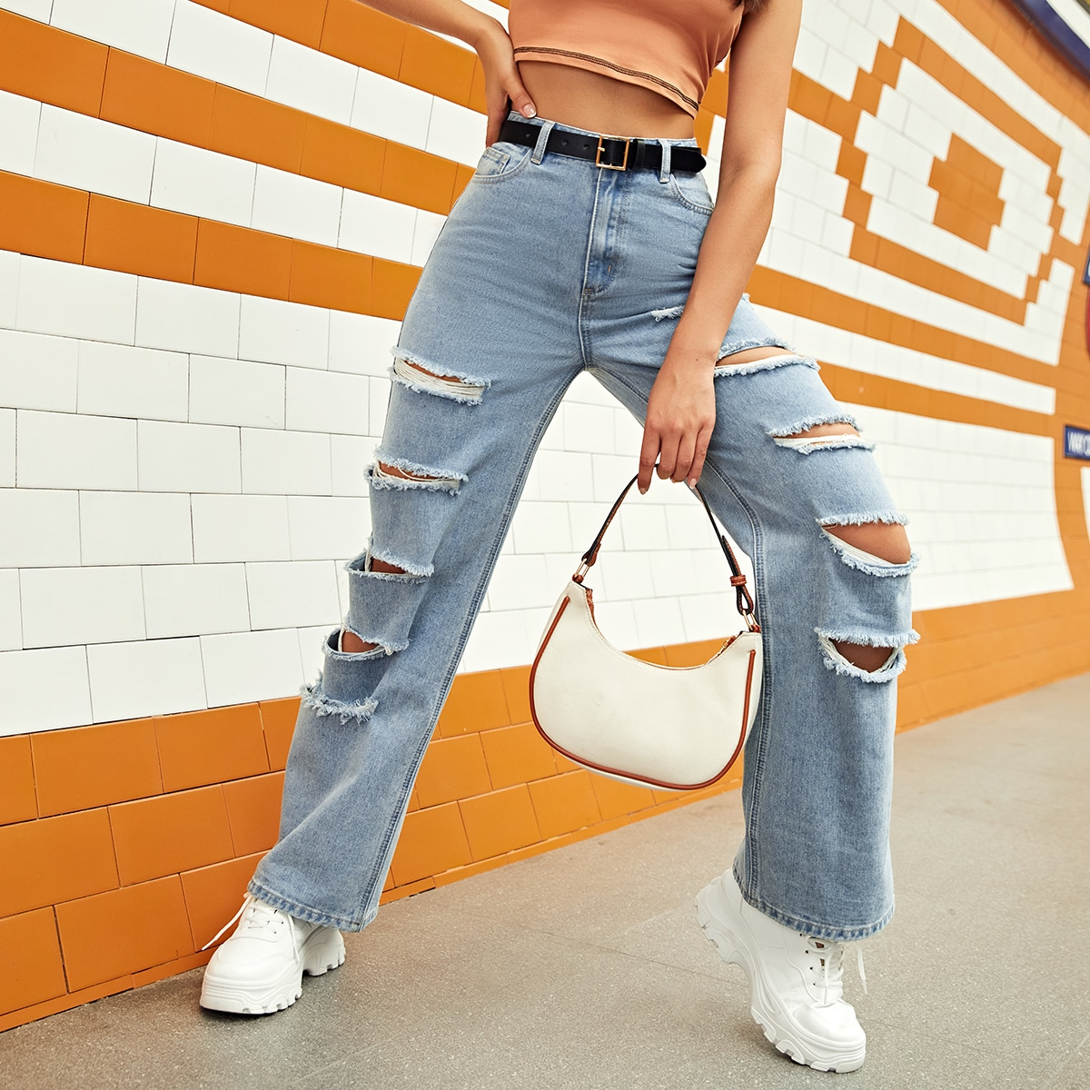 High Waisted Ladder Distressed Jeans Without Belt