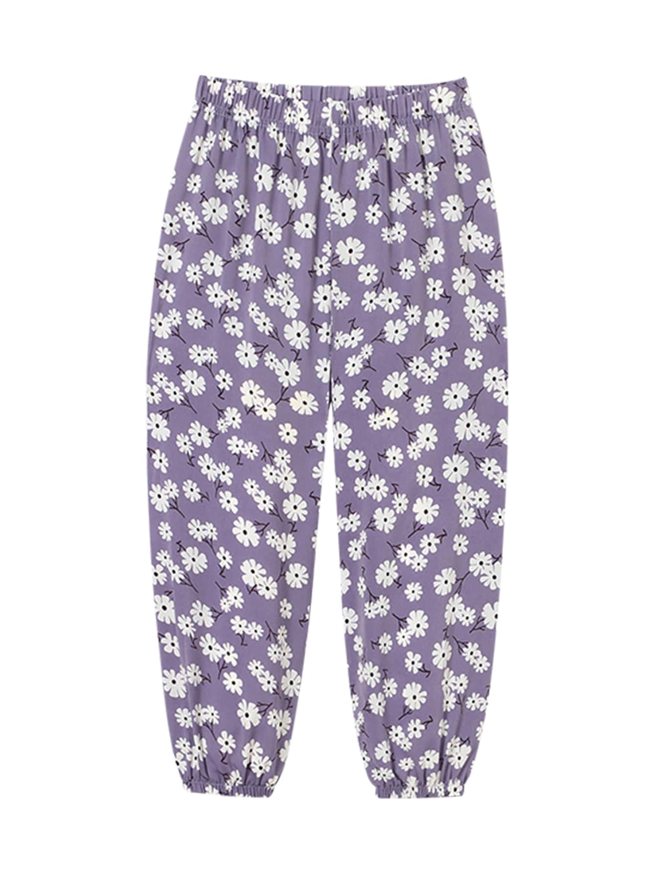 Girls Daisy Print Carrot Pants
