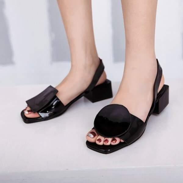Minimalist Chunky Heeled Slingback Sandals, Black
