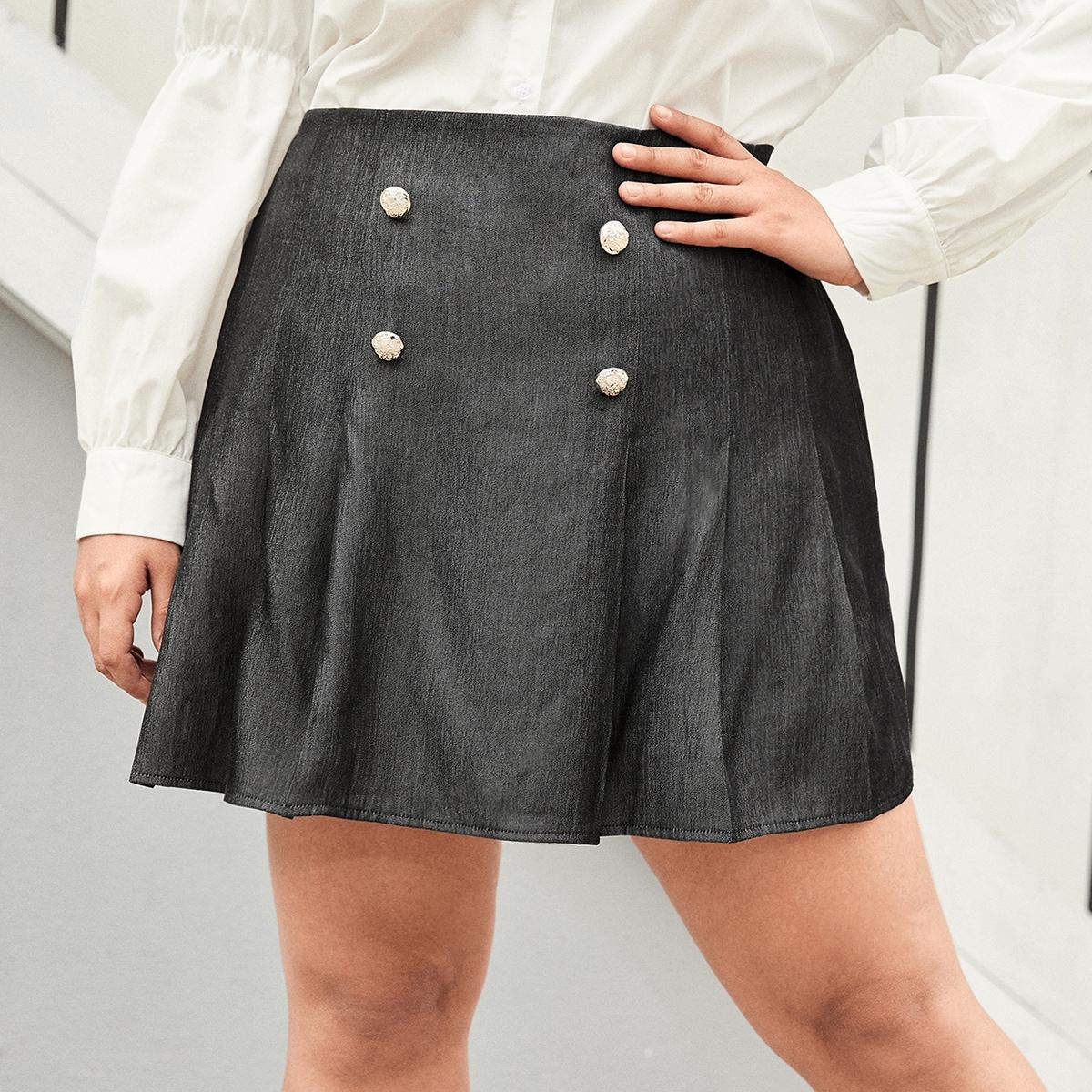 размера плюс Джинсовая юбка с пуговицами плиссированное