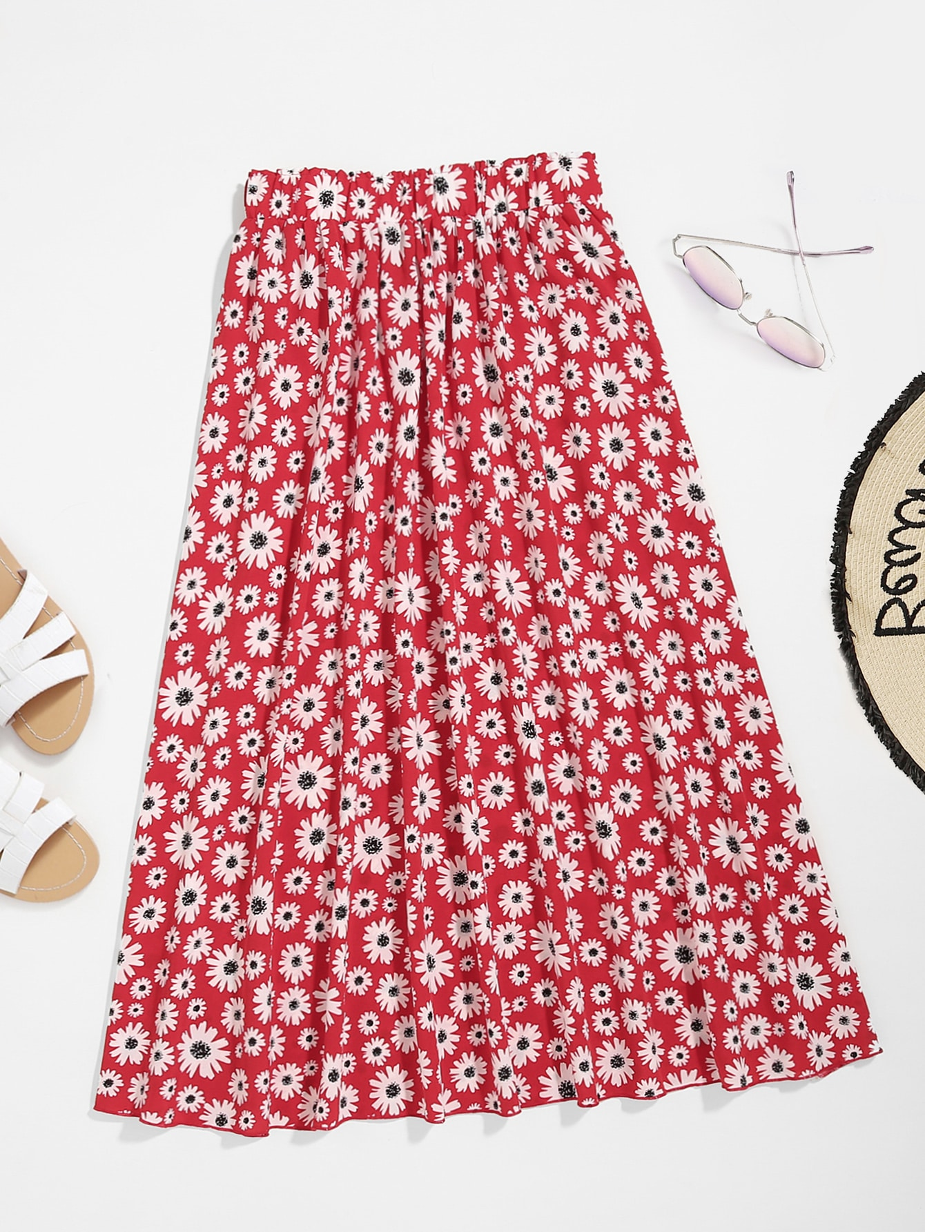 Plus All Over Floral Print  Skirt