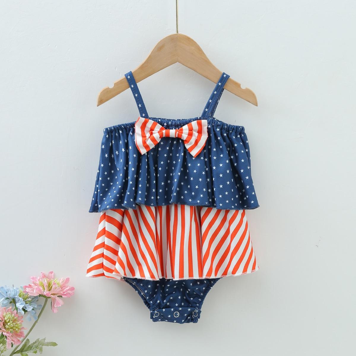 для девочек с принтом американского флага с бантом многослойный Составной комплект Боди Платье от SHEIN