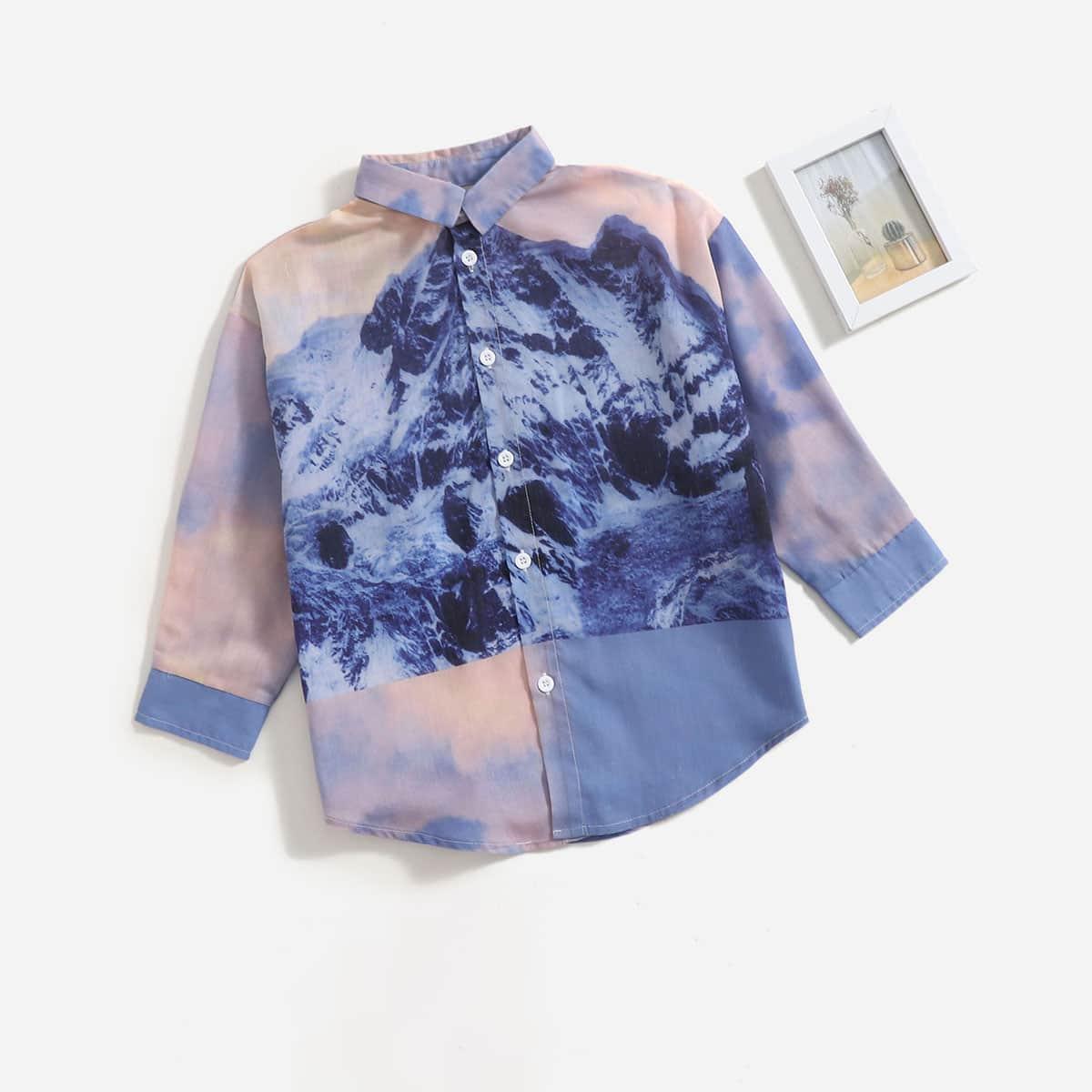 для мальчиков Рубашка пейзаж & с принтом тай-дай принтом