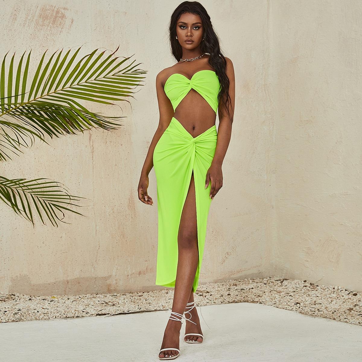 Neon Lime Twist Front Tube Top & Twist Skirt Set