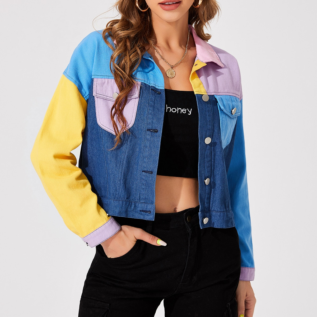 Colorblock Drop Shoulder Flap Pocket Button Front Jacket, SHEIN  - buy with discount