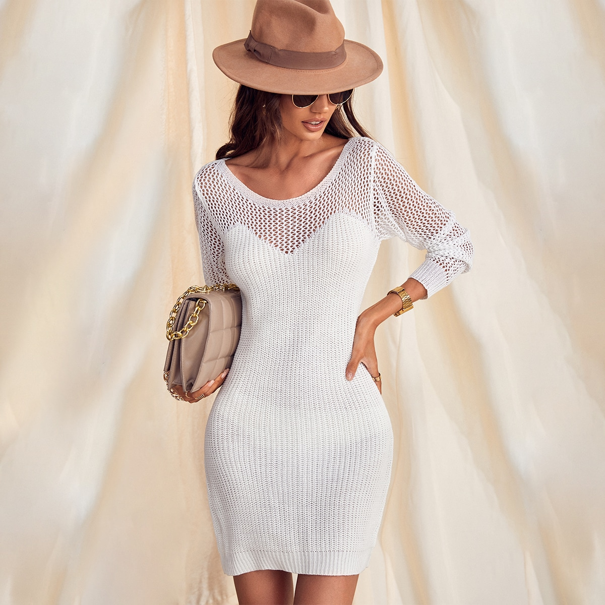 Платье-свитер вязаный SheIn swdress23210603048
