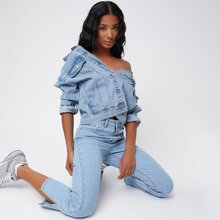 Straight Leg Slit Hem Cropped Jeans