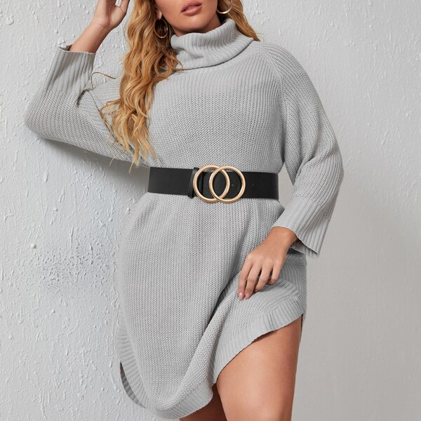 Plus Turtleneck Curved Hem Sweater Dress Without Belt, Grey