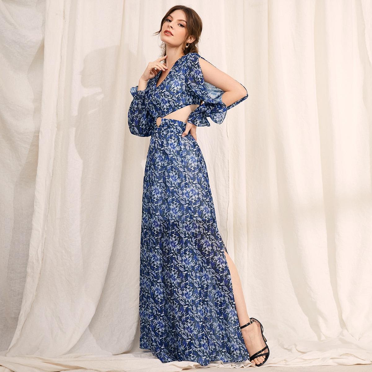 с разрезом Разрез Высокий разрез Со цветочками Принт Бохо Платье SheIn swdress44210514031
