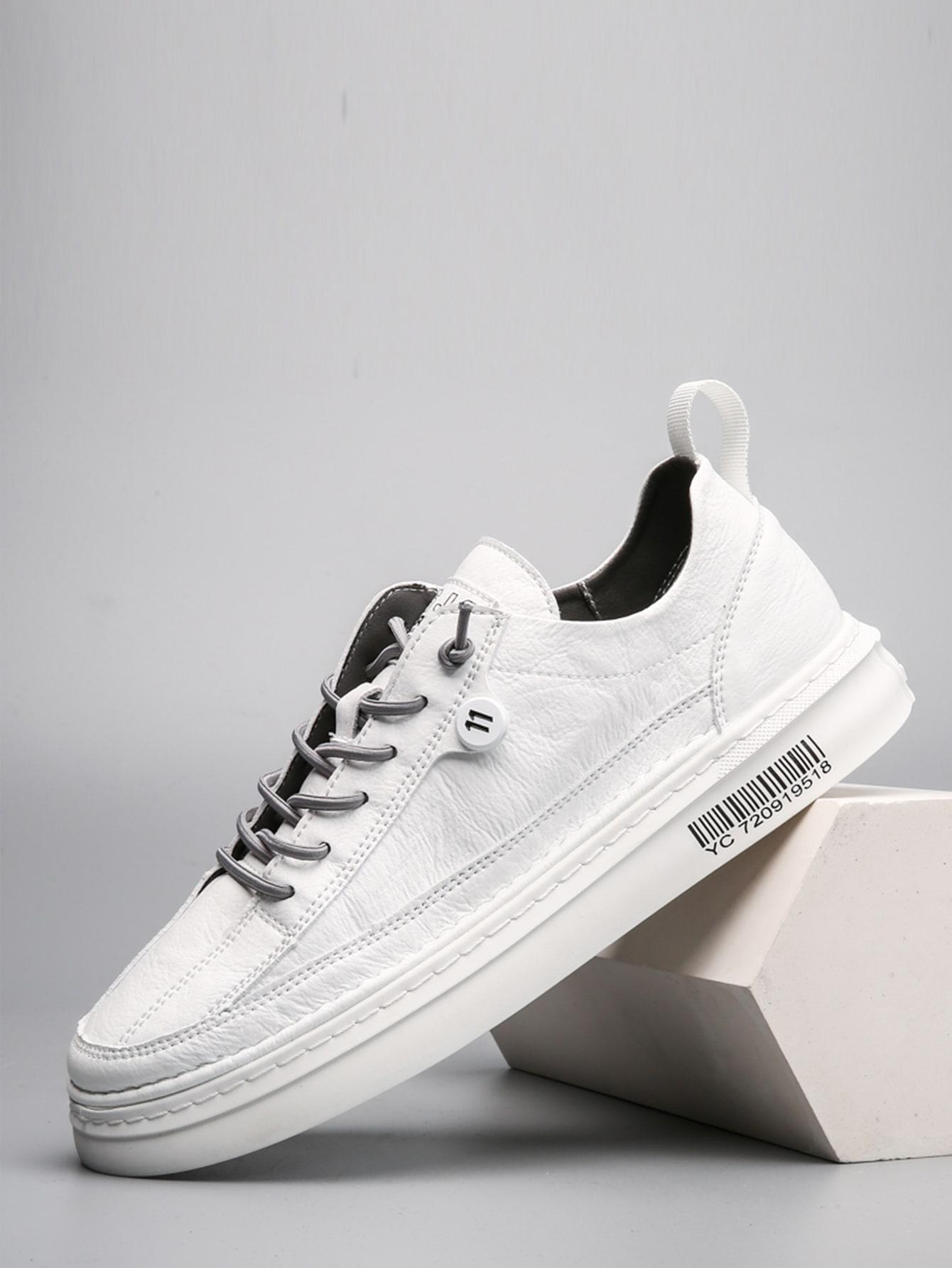 Men Minimalist Lace Up Front Skate Shoes