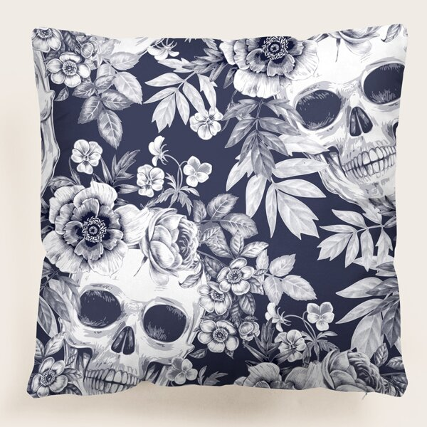 Skull & Flower Print Cushion Cover Without Filler, Multicolor