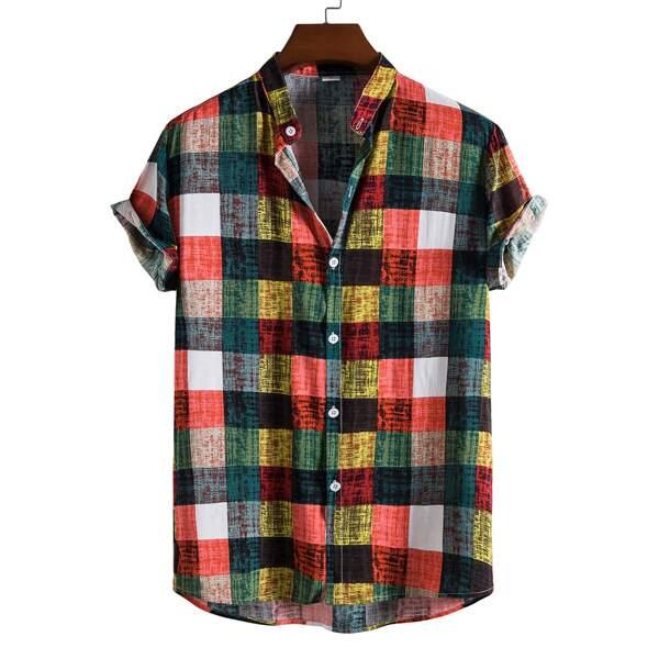 Men Plaid Print Button Front Shirt, Multicolor