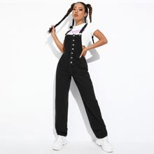 Button Front Solid Denim Overalls