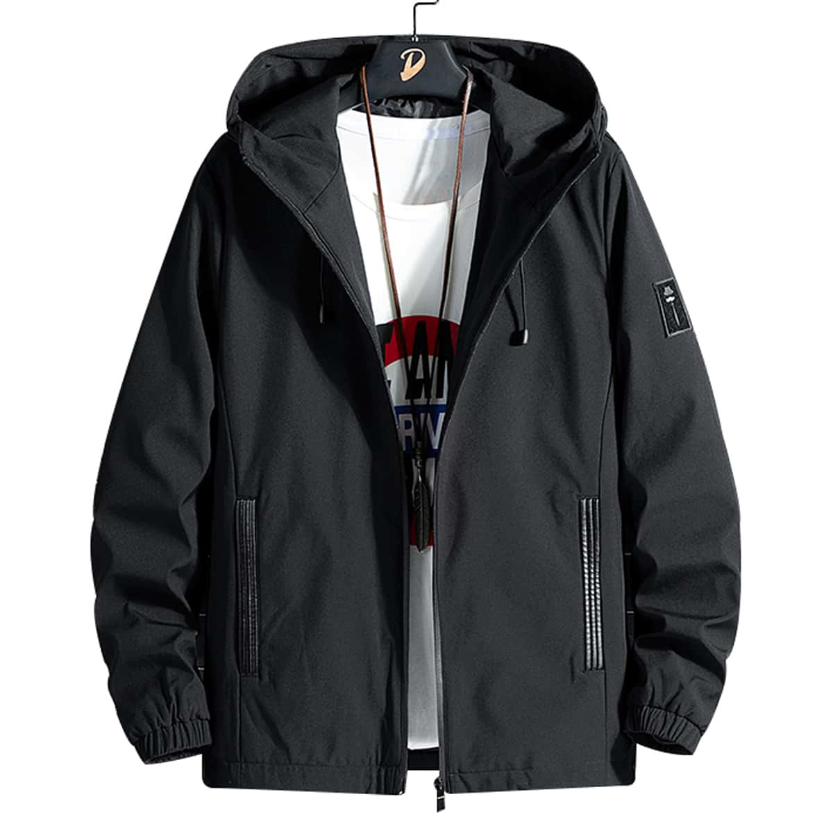 Men Patched Hooded Jacket, SHEIN  - buy with discount