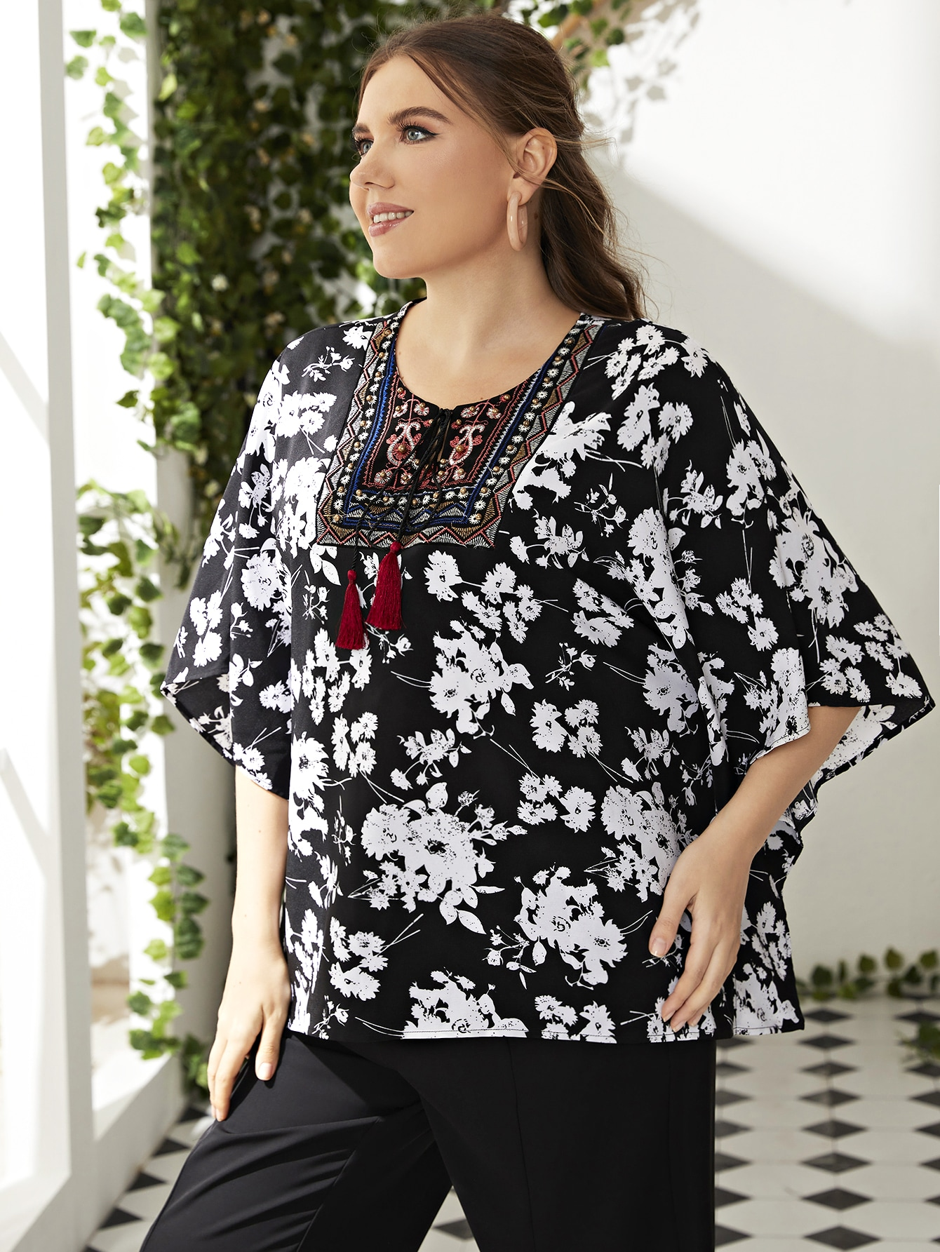 Plus Ditsy Floral & Embroidery Detail Tassel Tie Neck Blouse