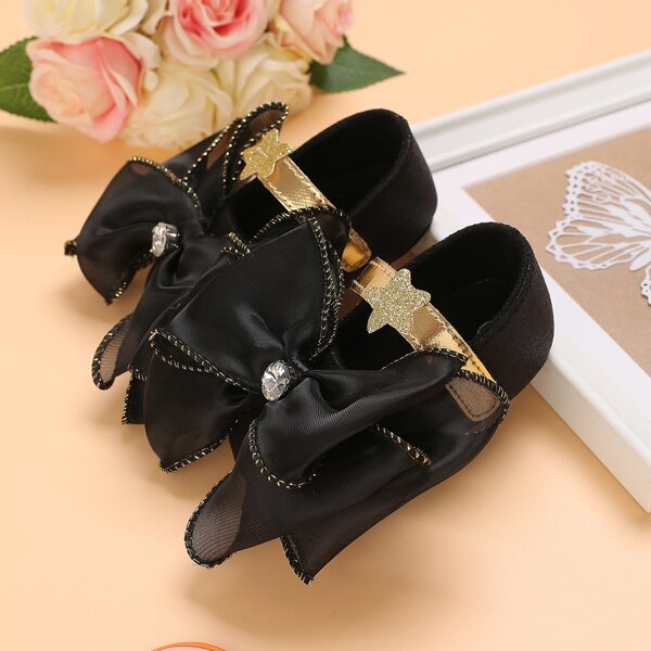Baby Bow Decor Velcro Strap Flats, Black