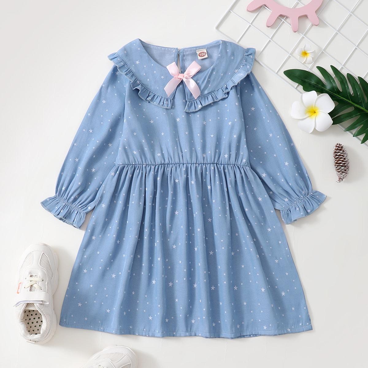 для девочек Джинсовое платье с принтом звезды с воротником питер пэн с бантом SheIn skdress25210609938