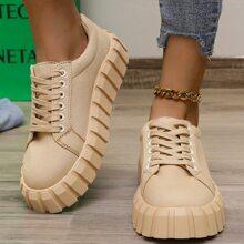 Lace-up Front Flatform Canvas Shoes
