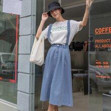 Slant Pocket Pinafore Denim Skirt