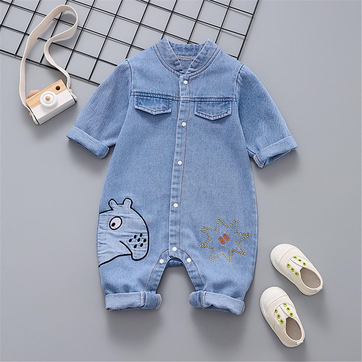 для мальчиков Комбинезон с мультипликационной вышивкой джинсовый от SHEIN