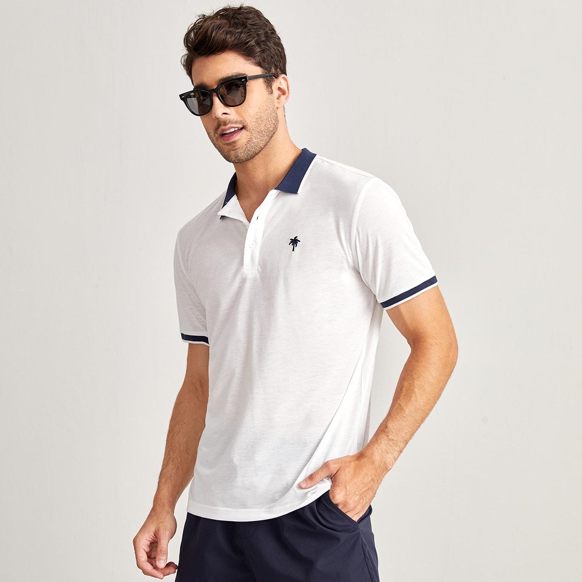 Мужской Рубашка-поло пальмы вышивкой