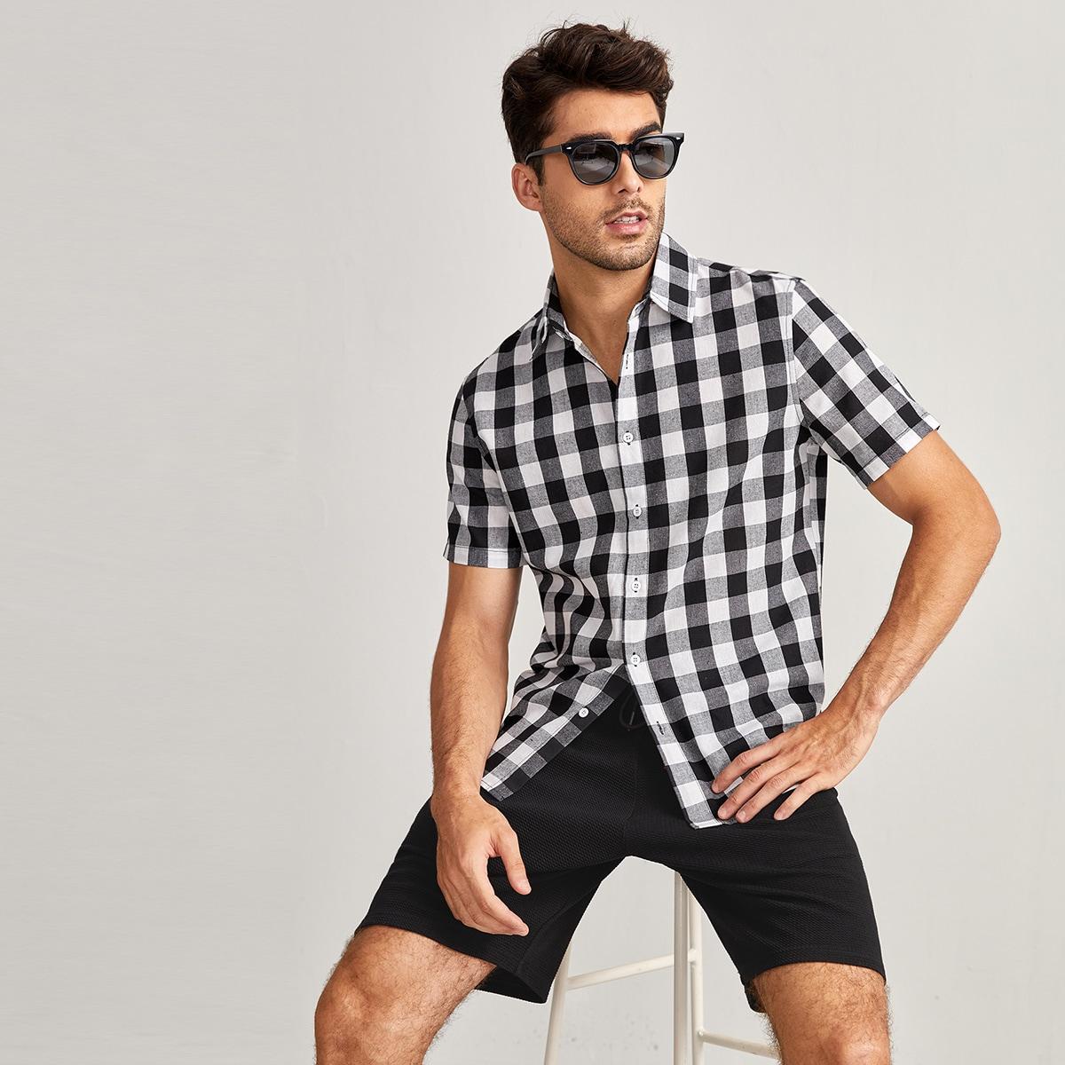 Мужской Рубашка в клетку на пуговицах SheIn smshirt07210605961